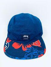 Stussy 5 Panel Hat Hawaiian Floral Print Bill Navy Blue Strapback Adjustable Cap