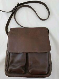 Vintage Fossil Brown Leather Crossbody Messenger Bag Saddle Flap Purse