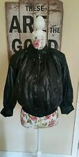 Levis Super Rare Red Tab Girls Black Wet Leather Look Bomber Jacket Size Small