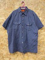 "Vintage RED KAP Workwear Work Short Sleeve Shirt Blue ""Mission Linen"" USA XL"