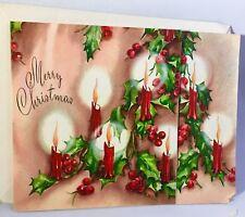 Vintage Mid Century Unused Christmas Card Glowing Candles Holly Berries