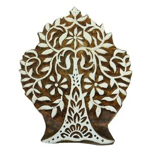 Wooden Textile Stamp Decorative Hand Carved Tree Stamp Printing Indian Block Art