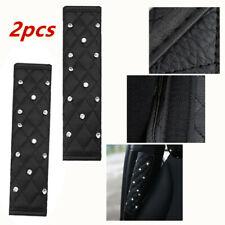 2*Car Black Diamond Leather Auto Seat Belt Cover Shoulder Pads Comfortable Parts