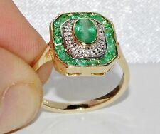 9ct Gold Emerald & Diamond Art Deco Design Cluster Ring size M