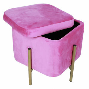 5 Color Velvet Ottoman Seat Storage Foot Stool Dressing Upholstered Vanity Chair