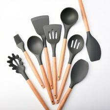 New listing 9Pcs Silicone Cooking Utensils Set Non-stick Spatula Shovel Wooden Handle