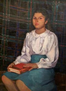 LEE ROLAND WARTHEN 20th c. American WPA Artist PORTRAIT PAINTING OF A YOUNG GIRL