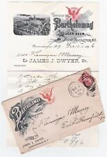 SUPER 1896 Advertising Cover& Billhead Bartholomay Beer Rochester Canandaigua NY