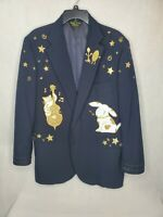 Halloween Mens Hey Diddle Diddle Theme Blazer Dress Coat Jacket Cow Cat Fiddle