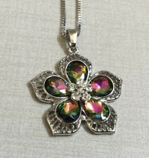 Betsey Johnson Necklace with Silver Crystal Topaz Flower Pendant New Nice Gift!