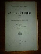 ANNALI DI AGRICOLTURA 1883 preservazione uomo paesi di malaria Tommaso Crudeli