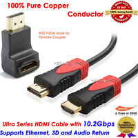 Ultra 6ft HDMI Cable+90 Degree HDMI Extension Adapter For HDTV/Plasma/LCD/PS3