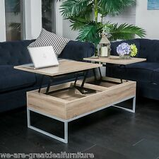 Rustic Modern Natural Brown Wood Lift Top Storage Coffee Table