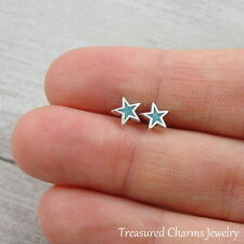 925 Sterling Silver Turquoise Star Post Earrings - Blue Star Stud Earrings NEW