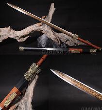 """42"""" DAMASCUS FOLDED  STEEL HANDMADE FULL TANG BLADE RED CHINESE SWORD(汉剑)"""