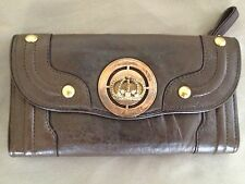 Juicy Couture Brown Leather Wallet / Crown / Zipper / Checkbook / Pocket Book