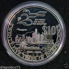 Singapore 1990 25th yrs Independence $10 Silver Proof Coin