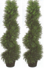 2 TOPIARY 3' ARTIFICIAL OUTDOOR TREE UV CYPRESS SPIRAL CEDAR PINE PORCH 4 PATIO
