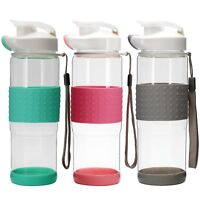Glass Share Bottle Shaker Ball Silicone Wrap Blender Flip Top Wide Mouth 18.5 oz