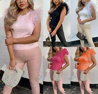 Women's Ladies Fine Ribbed Tutu Frill Tulle Mesh Sleeve Fashion Tee T-Shirt Top