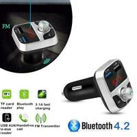 Bluetooth 4.2 Handsfree Car Kit FM Transmitter MP3 Dual Charger Player USB L7L7