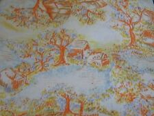 Retro vintage novelty knit fabric material sewing oranges & yellows cottage tree