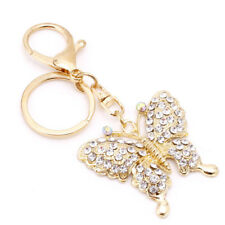 Fashion Charm Keychain Rhinestone Metal Butterfly Keyring Pendant Purse Bag Gift