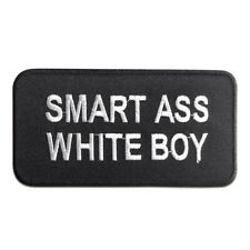 Iron on patches - Smart Ass White Boy – black – 10,5x5,4cm - Application badges