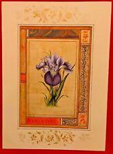 Handmade Flower Miniature Painting Paper Color Lotus Rose Finest Art Artist Work