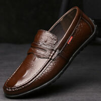 Men's Genuine Leather Loafers Summer Penny Shoes Flat Driving Moccasins Slip