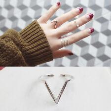 "Damen Ring ""V"" echt Silber 925 Rhodiniert größenverstellbar 48-53 offen"