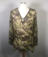 M&Co Brown Green 100% Silk Floral Sheer Summer Blouse Top 16/18 Tropical Holiday