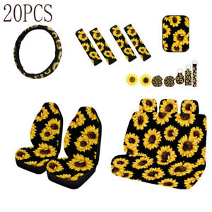 20X Sunflower Car Seat Covers+Steering Wheel Cover+Seat Belt&Armrest Pad General