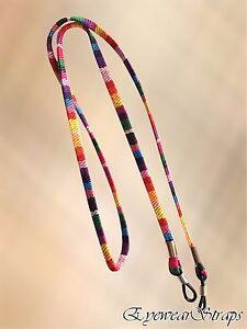 NEW Multi Coloured Weave Sunglasses / Glasses Flat Strap Cord Unisex Mens Womens