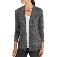 Samantha Rose Women Black/Gray/Silver Shimmer 2 Pocket 2Fer Cardigan S, M, L, XL