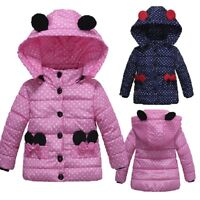 Fashion Kids Baby Girls Winter Thick Coat Padded Dot Bow Jacket Outwear Tops