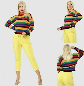 Ladies Women Long Sleeve Jumper Ribbed Knitted Rainbow Stripe Crew Neck Top