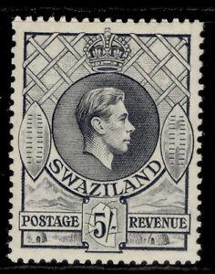 SWAZILAND GVI SG37, 5s grey, M MINT. Cat £70. PERF 13½ x 13