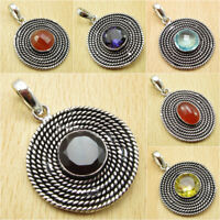Pick Your GEMSTONE Choice ! 925 Silver Plated BLACK ONYX & Other Stone Pendant