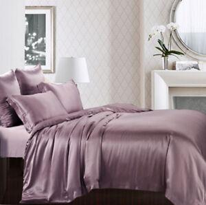 Seamless 3pc 25mm 100% Mulberry Pure Silk Duvet Quilt Cover Pillow Case Set