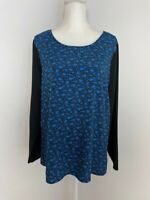 Ann Taylor LOFT Womens Top Blouse Size XL Blue Black Scoop Neck Long Sleeve