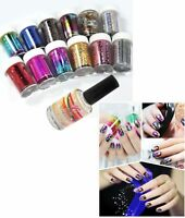 12 Colors Nail Art Transfer Foil Sticker & Glue Set for Nail Tips Decoration