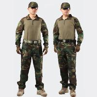 Men Military Army Tactical Combat Airsoft Frog Suit Set Shirt Pants Uniform Magc