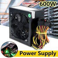 AU 600W PC Power Supply Quiet 24 Pins ATX Gaming PSU 120mm for Desktop Computer