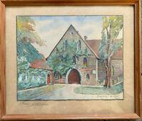 ::kleines Aquarell des Klosters Loccum, signiert Hansen antik sehr selten Rahmen