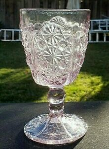 """L.G. Wright Pink Daisy and Button 6"""" Water Goblet 8 oz."""