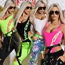 By Alina Mexton Damen Body Bodie Bodysuit hoher Beinausschnitt T-Shirt Neon XS-M