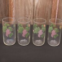4 Pink Flower Green Leaves Glass Tumblers Water Glass Cup