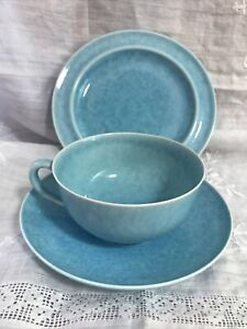 (i13) Ruskin Pottery Blue Lustre Cup Saucer and Plate