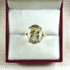 5.57ct Natural Green Amethyst/Diamond Sterling Silver Ring US (8) AU (Q)